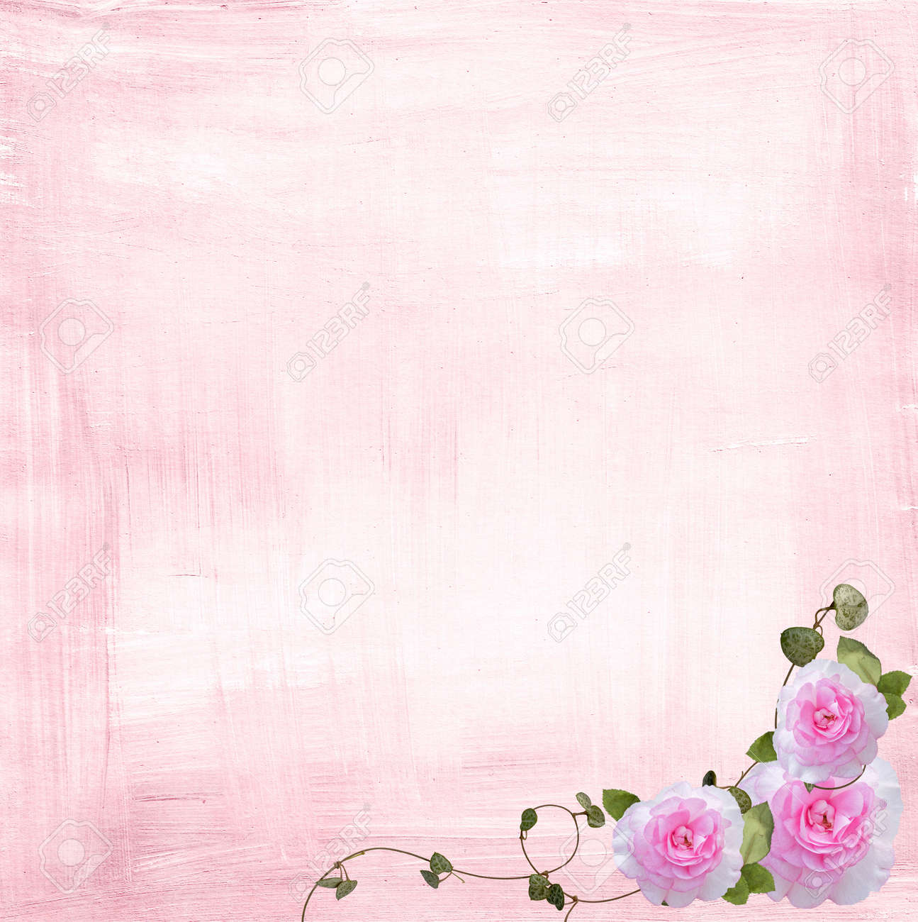 rose and ivy border on pink textured background stock photo picture