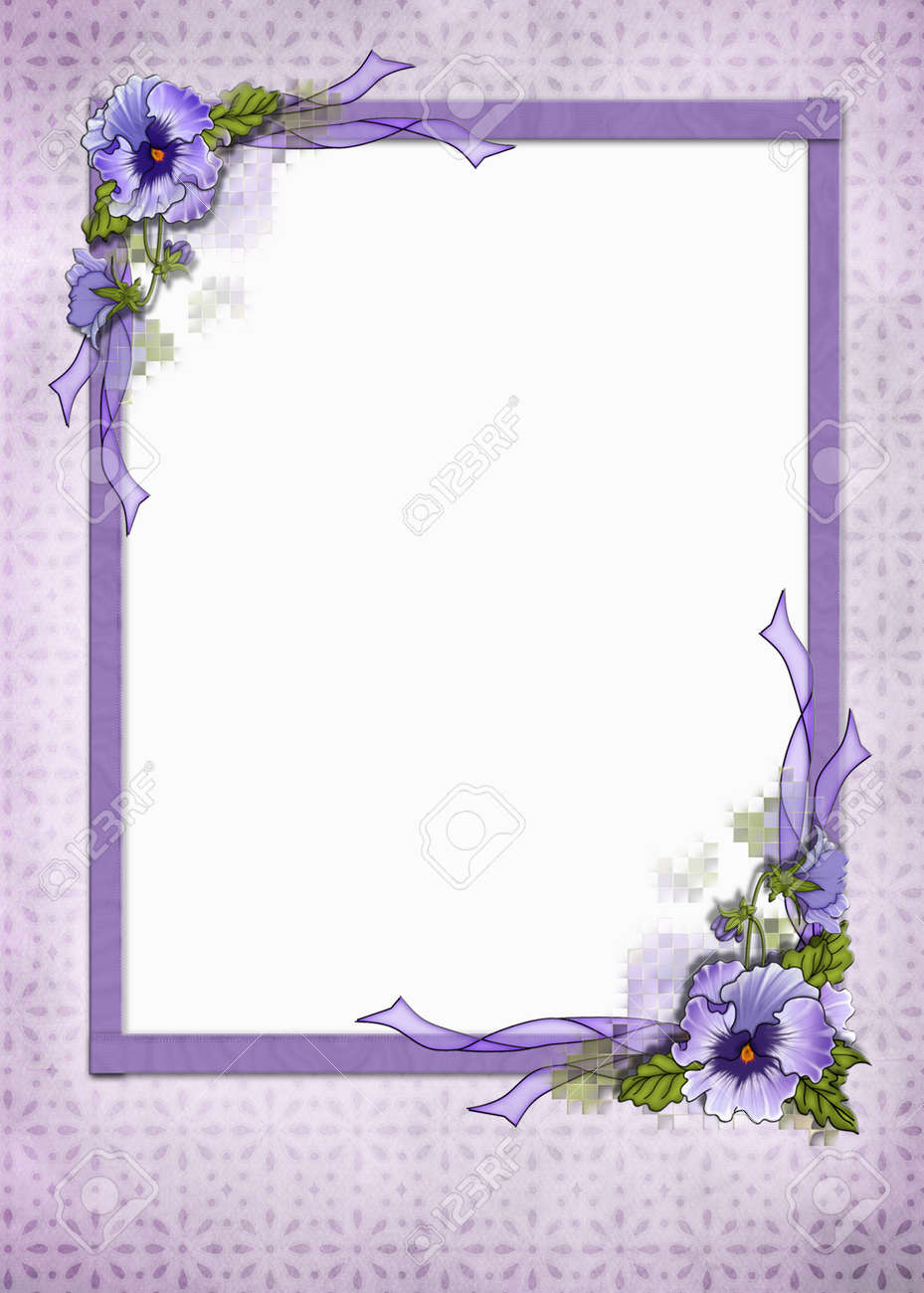 Fancy pansy frame on eyelet background Stock Photo - 13366376