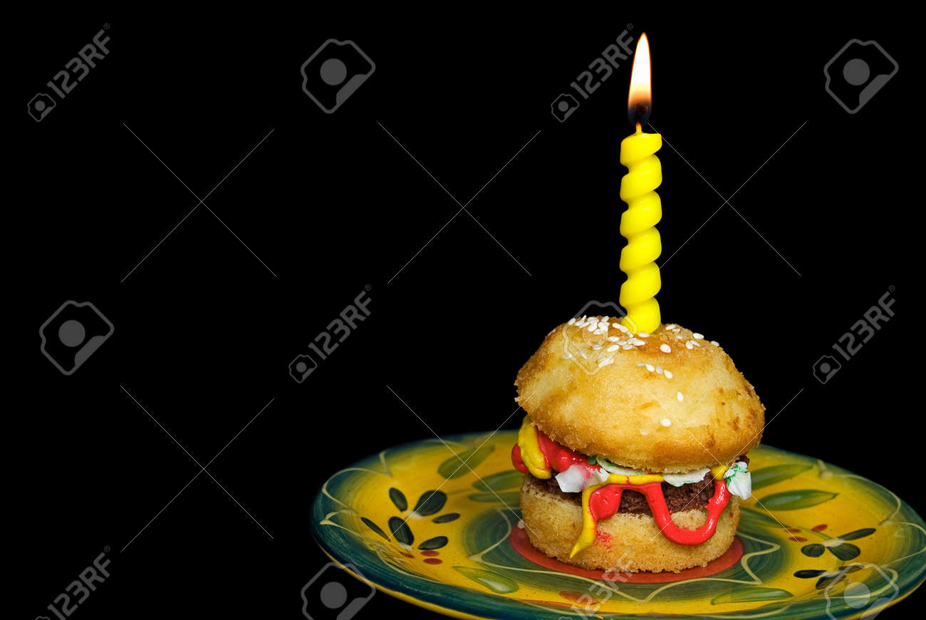 Miraculous Birthday Candle On Hamburger Cake Stock Photo Picture And Royalty Funny Birthday Cards Online Inifodamsfinfo