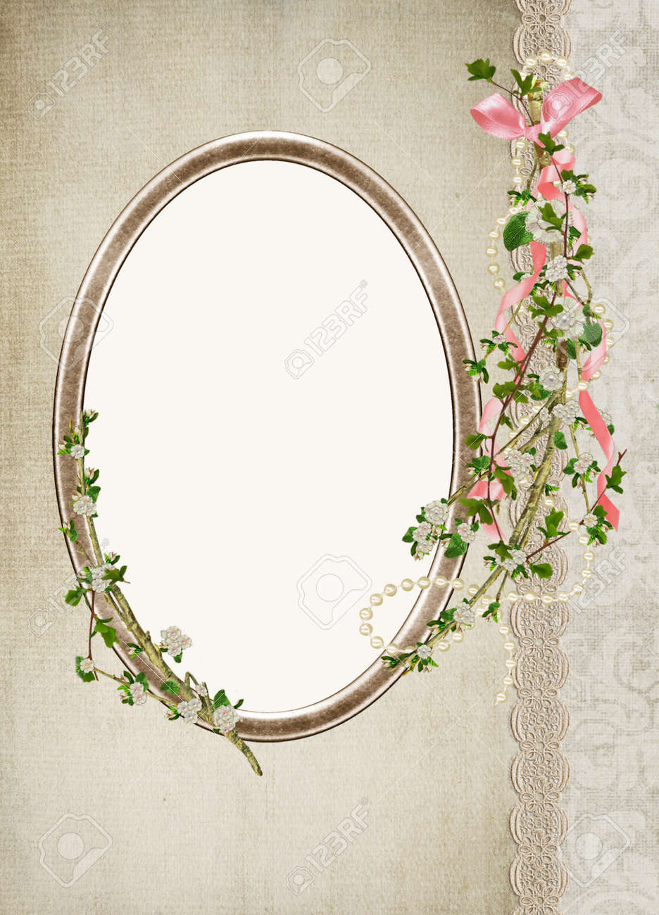 Oval antique frame with flowering branch stock photo picture and oval antique frame with flowering branch stock photo 13821570 jeuxipadfo Choice Image