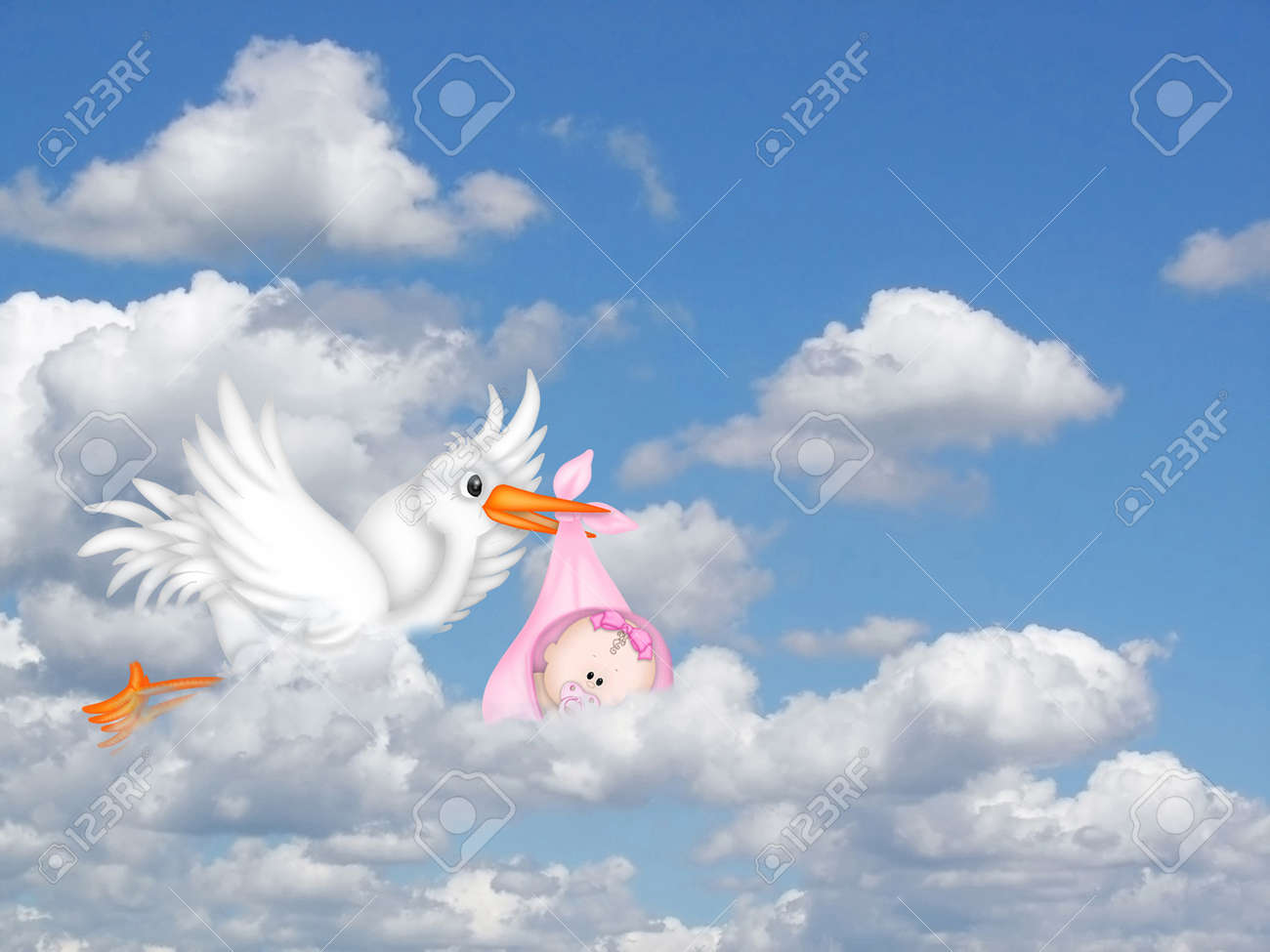stork delivering a baby girl Stock Photo - 14775766