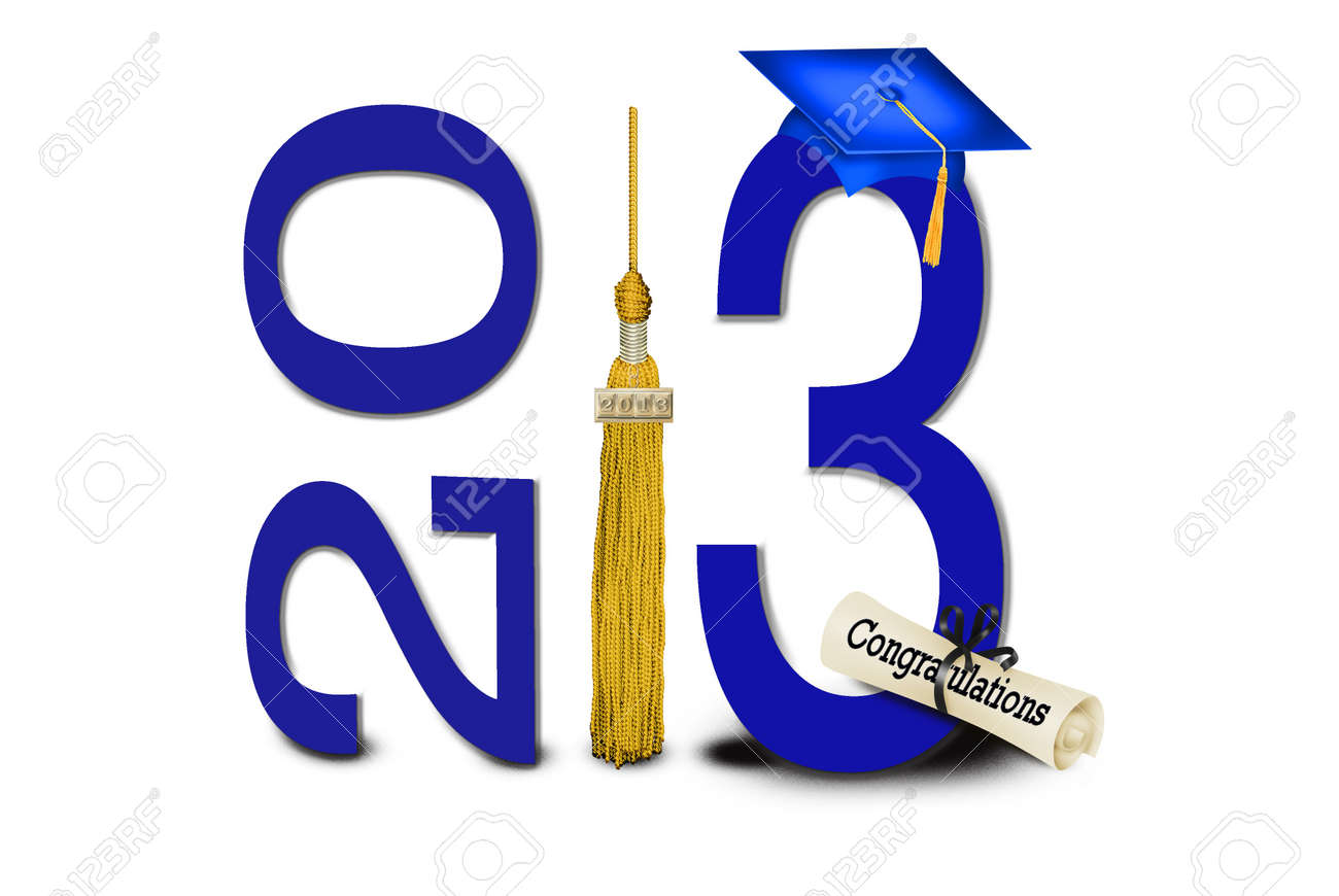 blue hat and gold tassel for 2013 graduation Stock Photo - 15945604