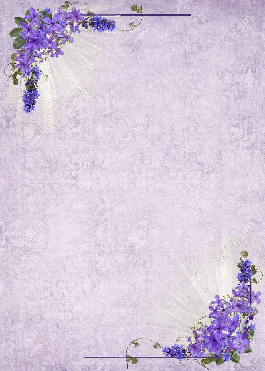 lilac corner frame on soft damask background Stock Photo - 15945684