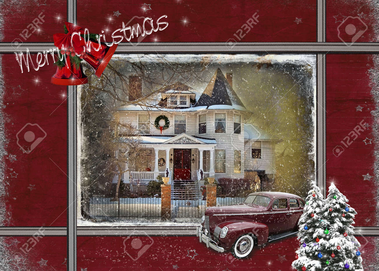 vintage house with car at Christmas time Stock Photo - 16012684