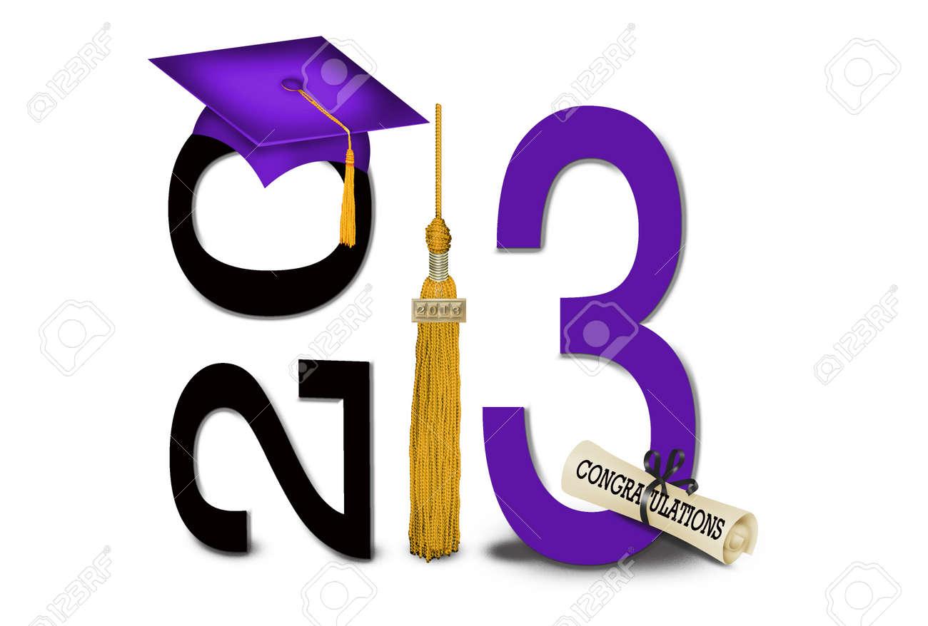 gold tassel with purple graduation cap for 2013 Stock Photo - 17265945