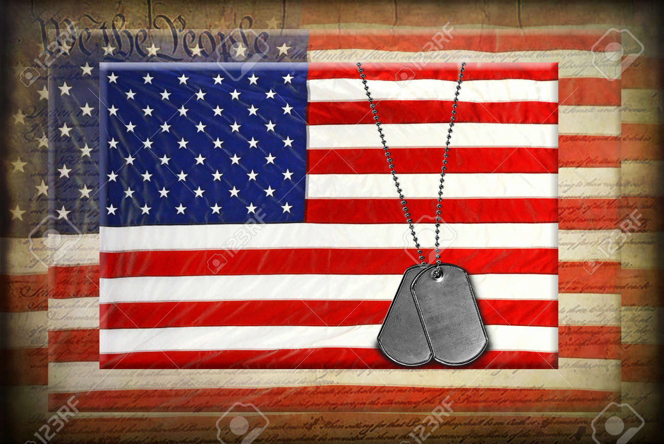 Military dog tags on American flag with textured overlay