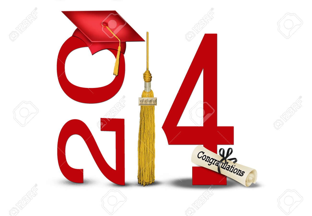 class of 2014 with gold tassel and red hat Stock Photo - 22198060