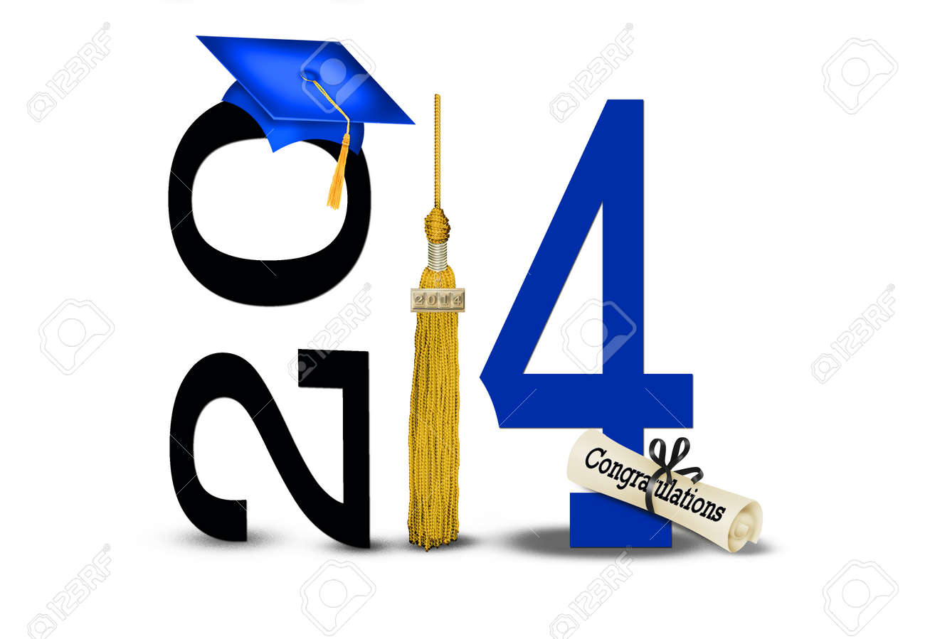 blue graduation cap for 2014 with gold tassel Stock Photo - 22256949