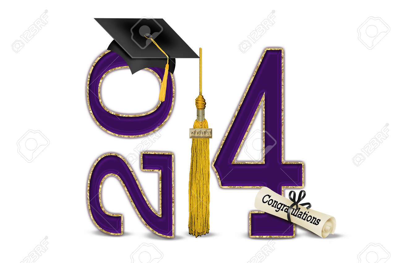 purple and gold for 2014 graduation Stock Photo - 22395930