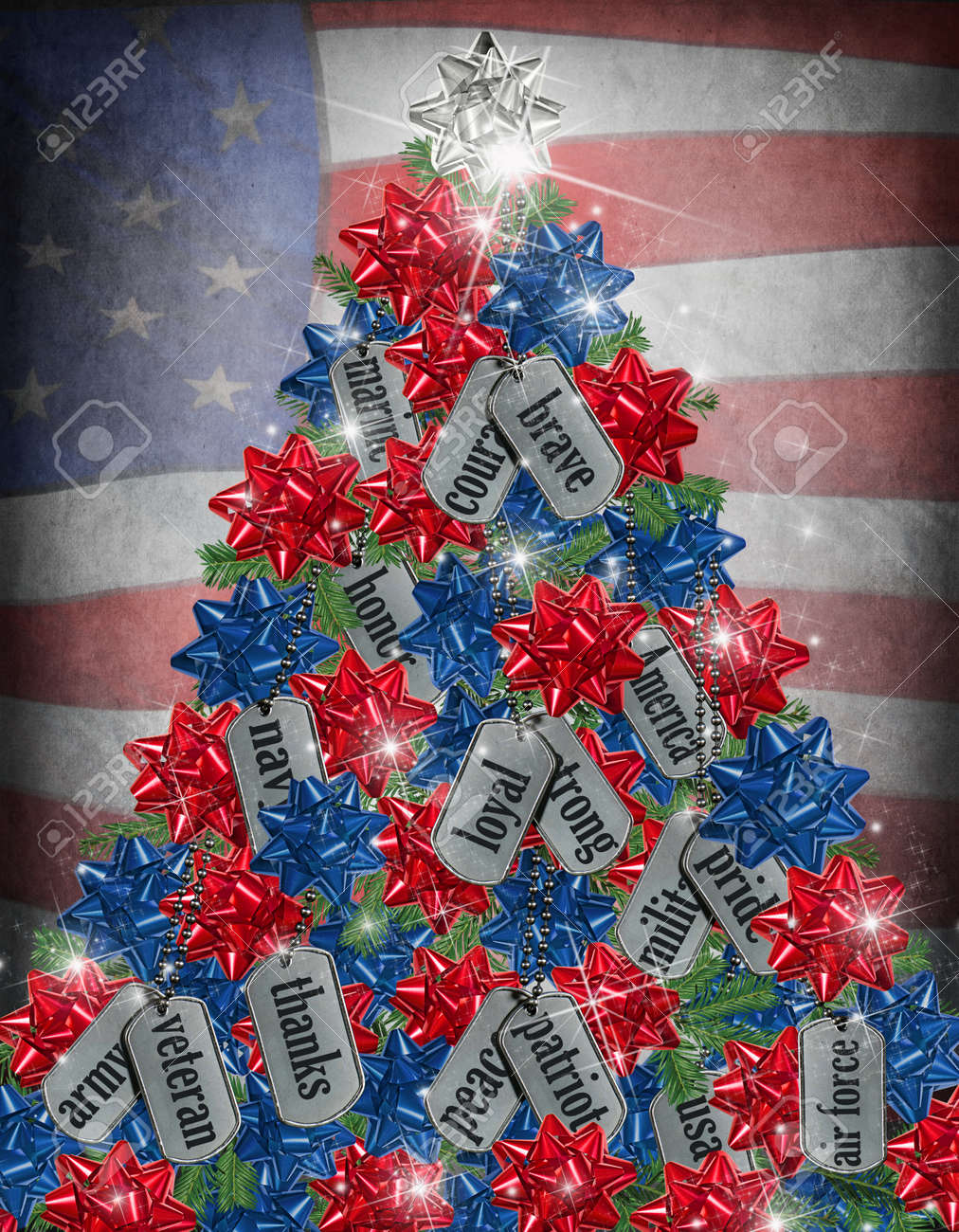 military dog tag Christmas tree with flag background Stock Photo - 23476645