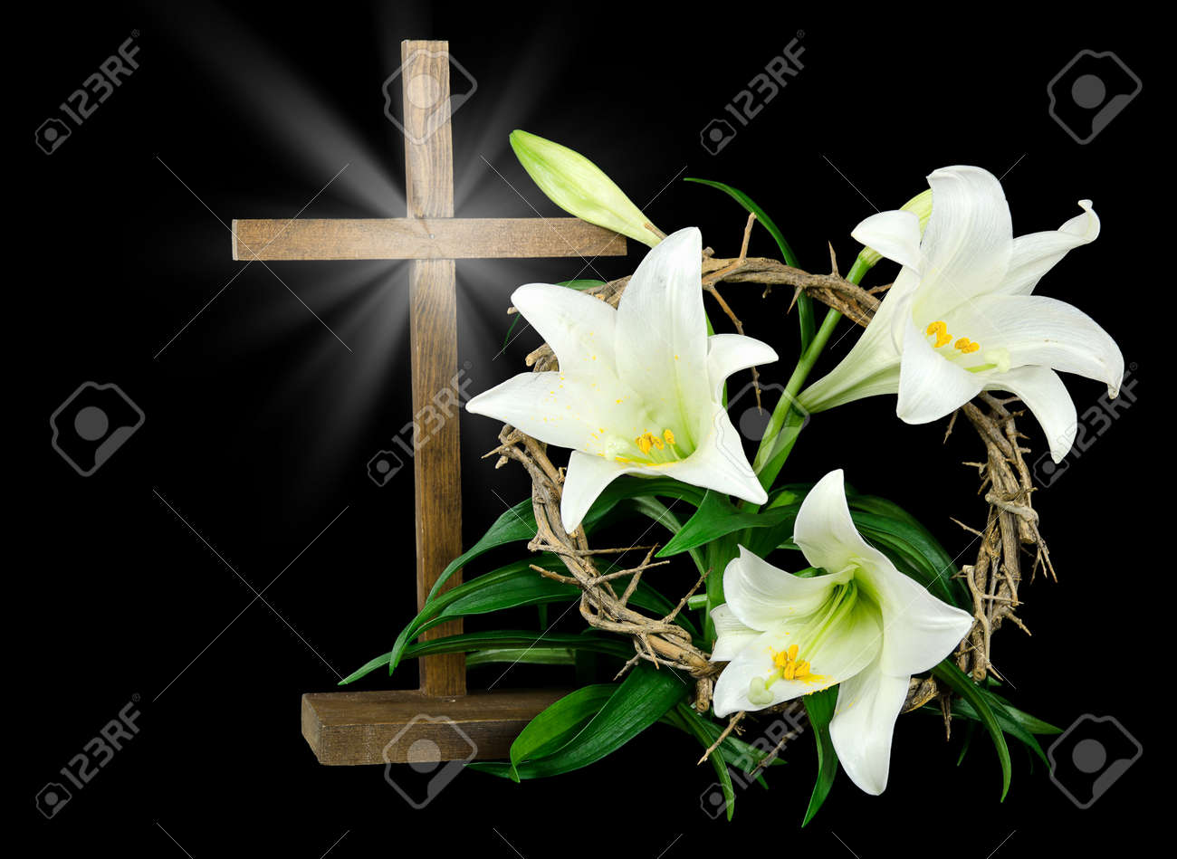 Easter lilies with cross and crown of thorns Stock Photo - 27994995