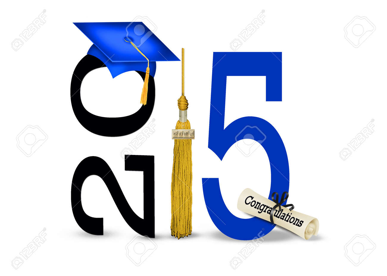 blue graduation cap with gold tassel for class of 2015 Stock Photo - 29578057
