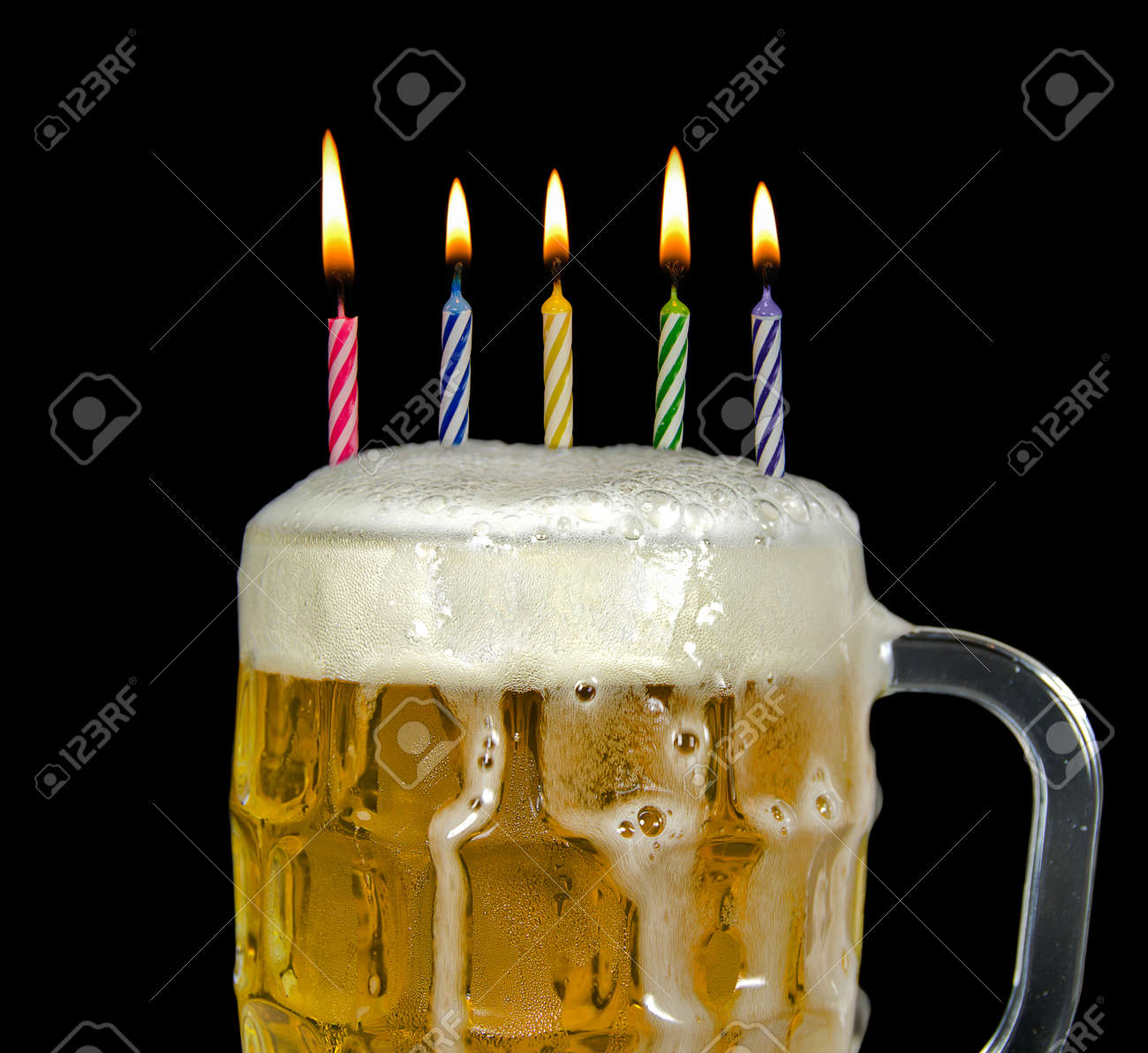 birthday candles in beer Stock Photo - 30156117
