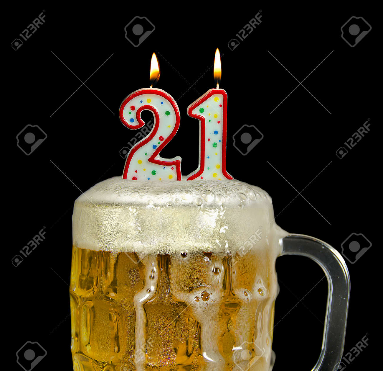 Birthday Candles For 21st In Beer Stock Photo