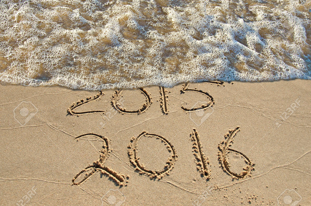 New Year 2016 in beach sand with surf Stock Photo - 31112294