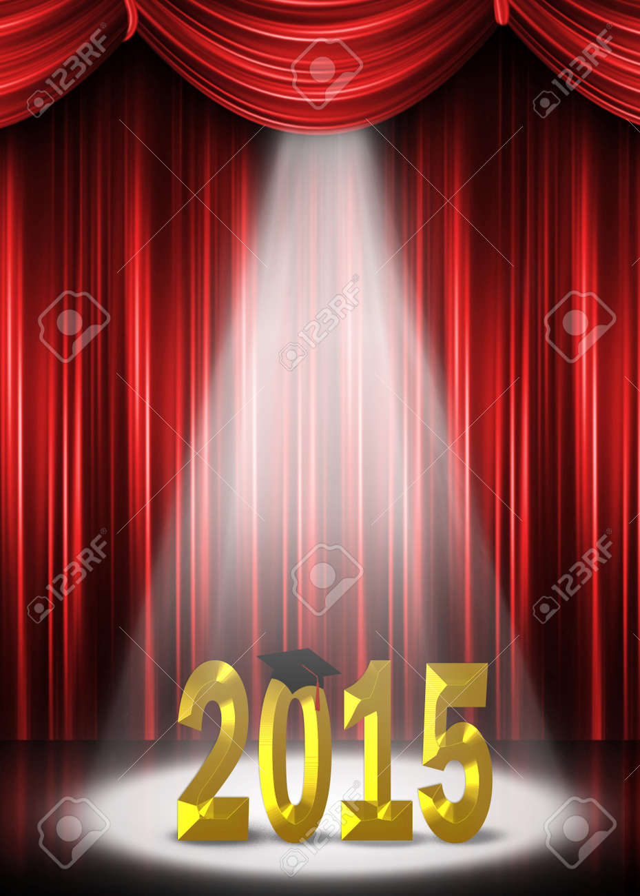 Red curtain spotlight - Graduation 2015 In The Spotlight With Red Curtain Backdrop Stock Photo 33379203