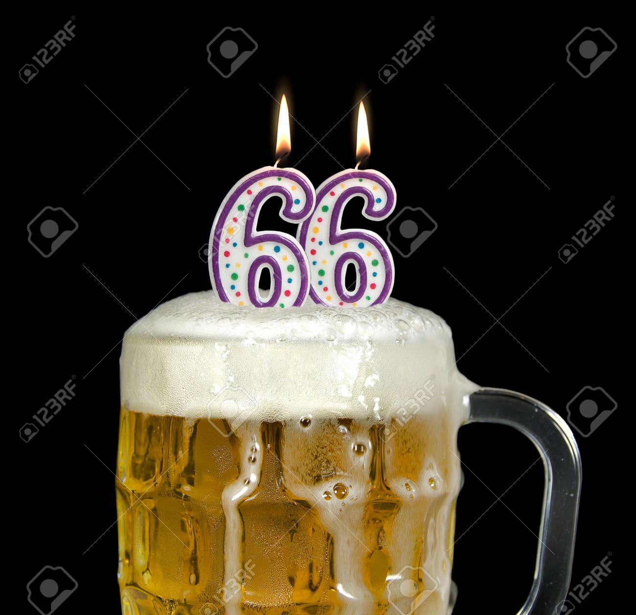 Kerzen In Bier Fur 66 Geburtstag Lizenzfreie Fotos Bilder Und