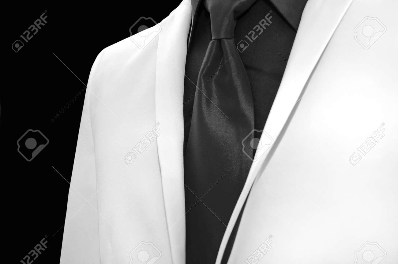 White Wedding Tuxedo With Black Tie And Shirt Stock Photo, Picture ...
