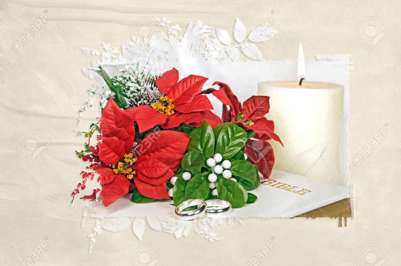 Poinsettia Wedding Bouquet With Rings In Fancy Mask Frame Stock