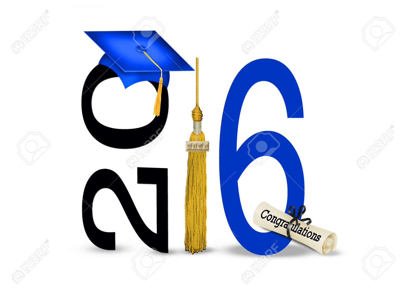 blue cap and gold tassel for class of 2016 Stock Photo - 51142010