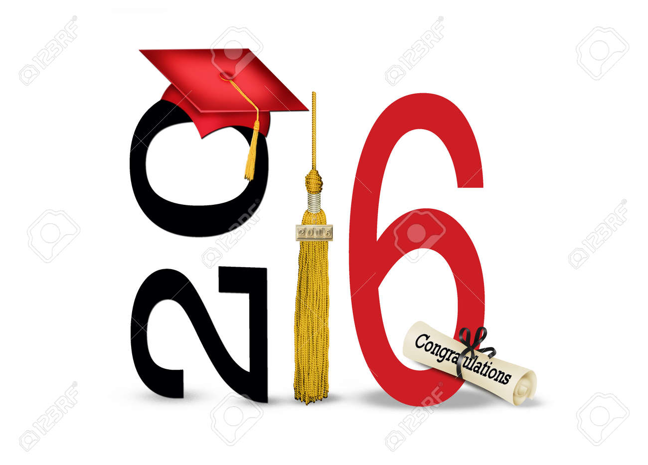 red graduation hat and gold tassel on white for 2016 Stock Photo - 51142012