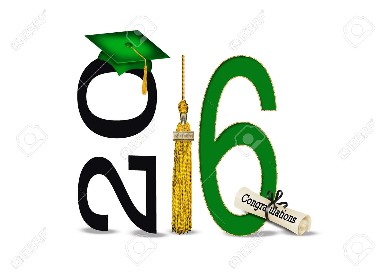 green graduation cap and 2016 gold tassel on white Stock Photo - 52192776