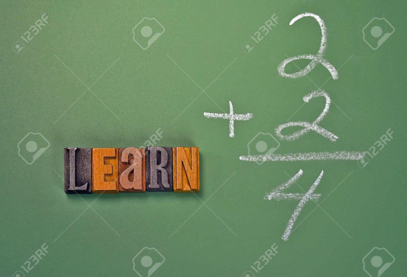 Word Learn In Vintage Wooden Letterpress Type On Chalkboard With ...