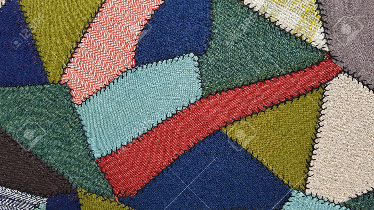 Crazy Quilt Pattern For Upholstery Fabric Stock Photo   61978775