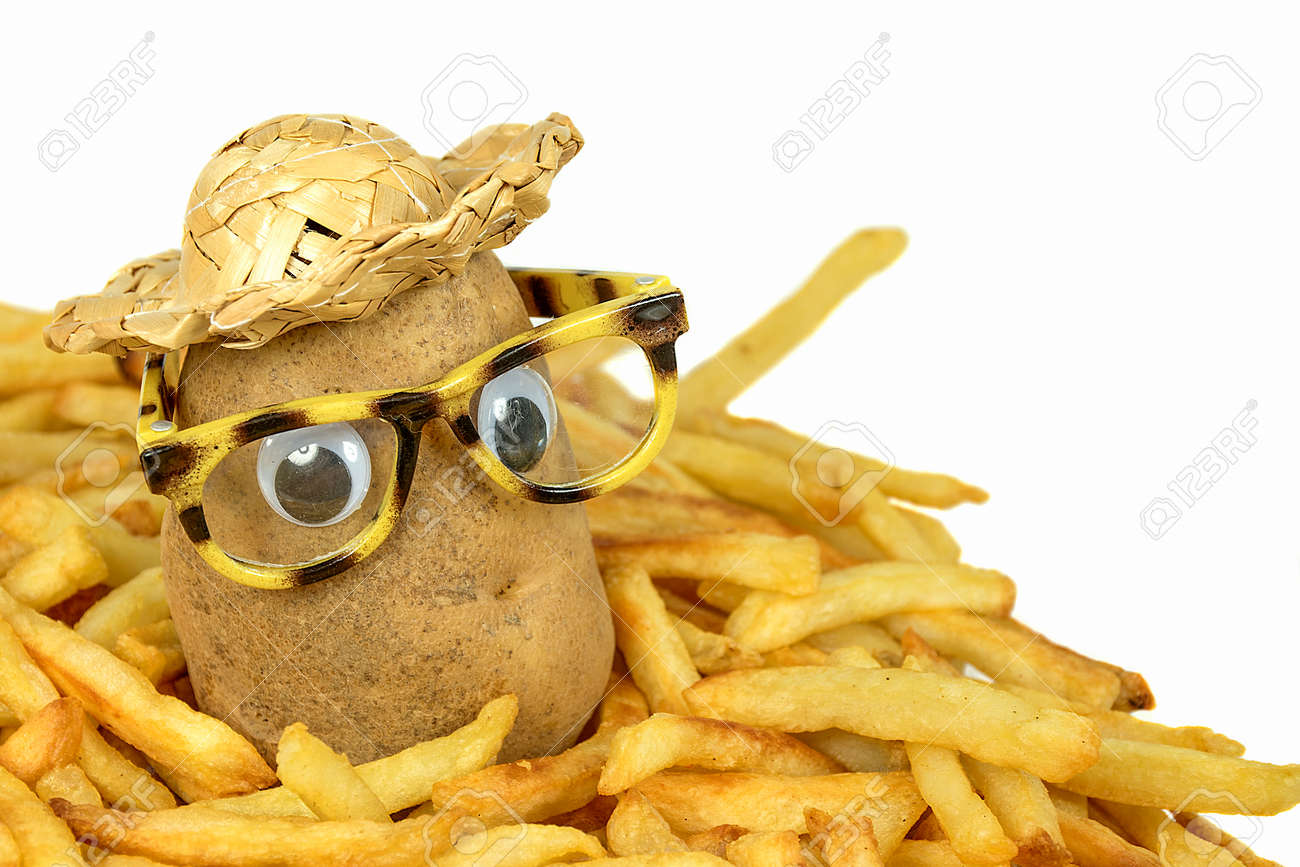 Potato with straw hat and glasses in a pile of french fries Stock Photo -  82238094 f2594097277d