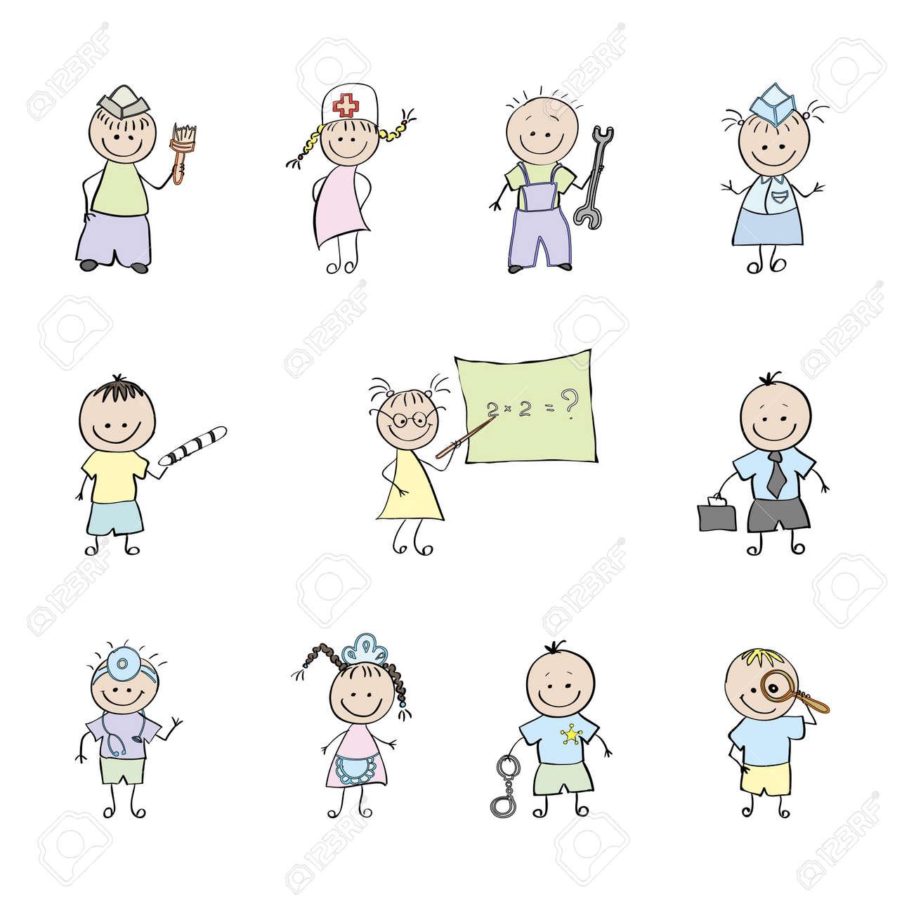 10 professionals who choose children. Vector illustration. Stock Vector - 10057139