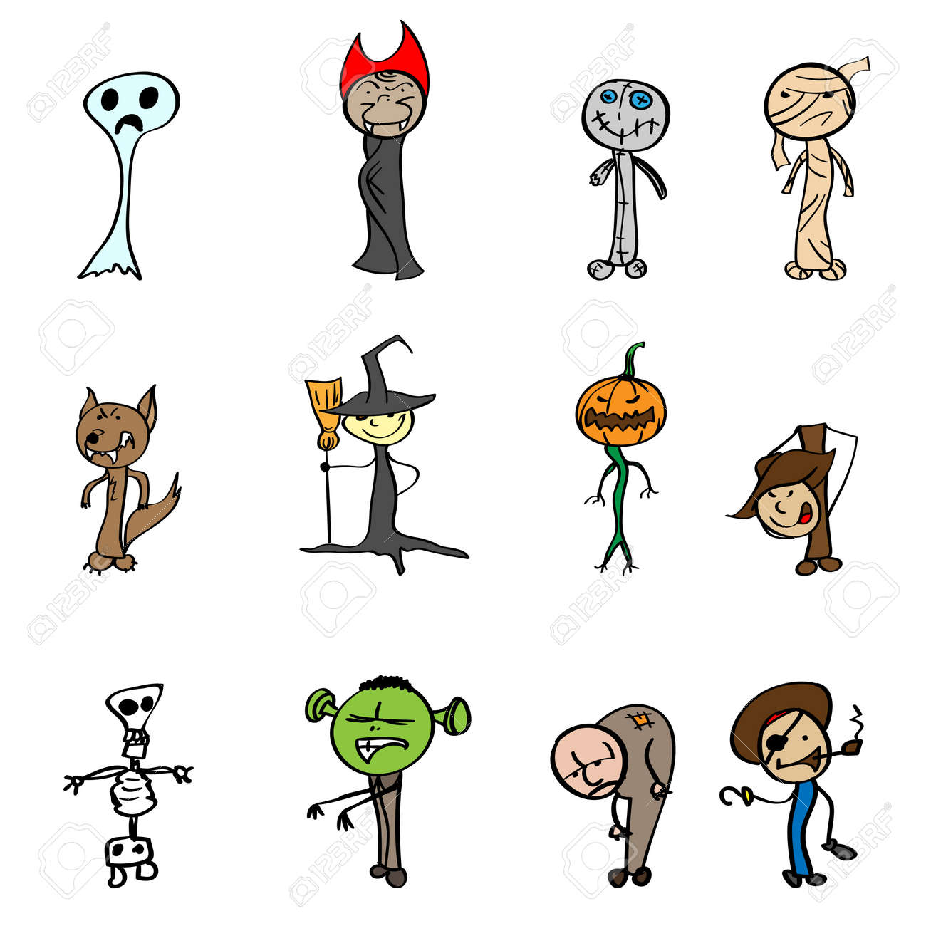children's drawings for halloween. vector illustration. royalty free