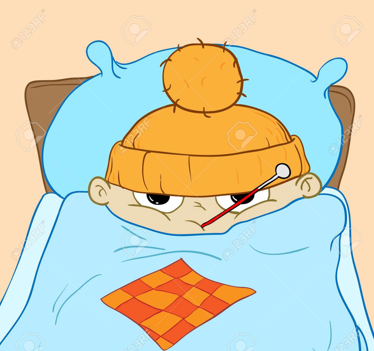 病気の少年は、発熱とベッドに横になっています。イラスト