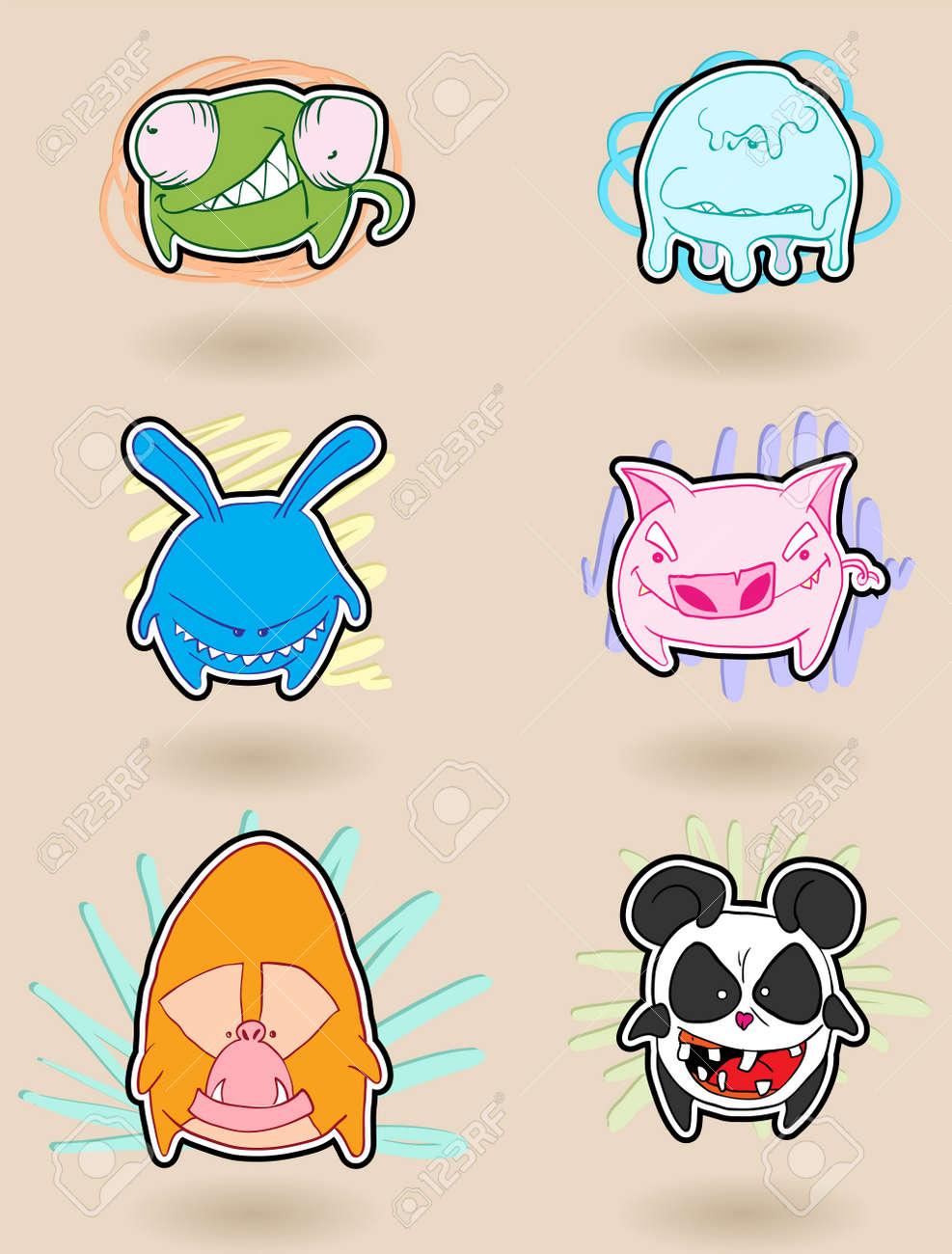 怒っている、カラフルな面白い動物のキャラクター。イラスト