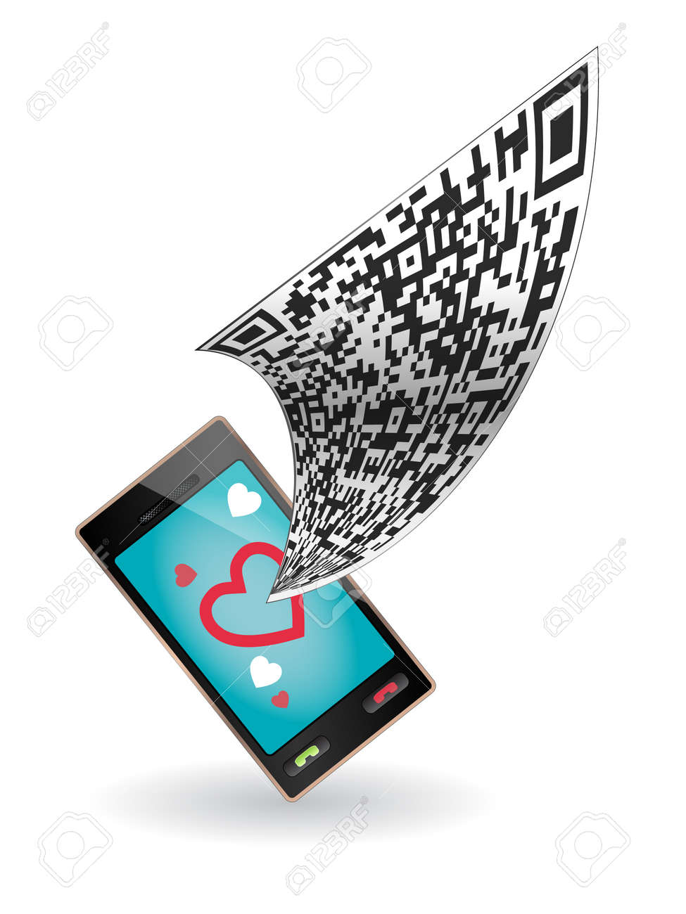 QR code flies in the smartphone. Phone with hearts. Stock Vector - 12201784