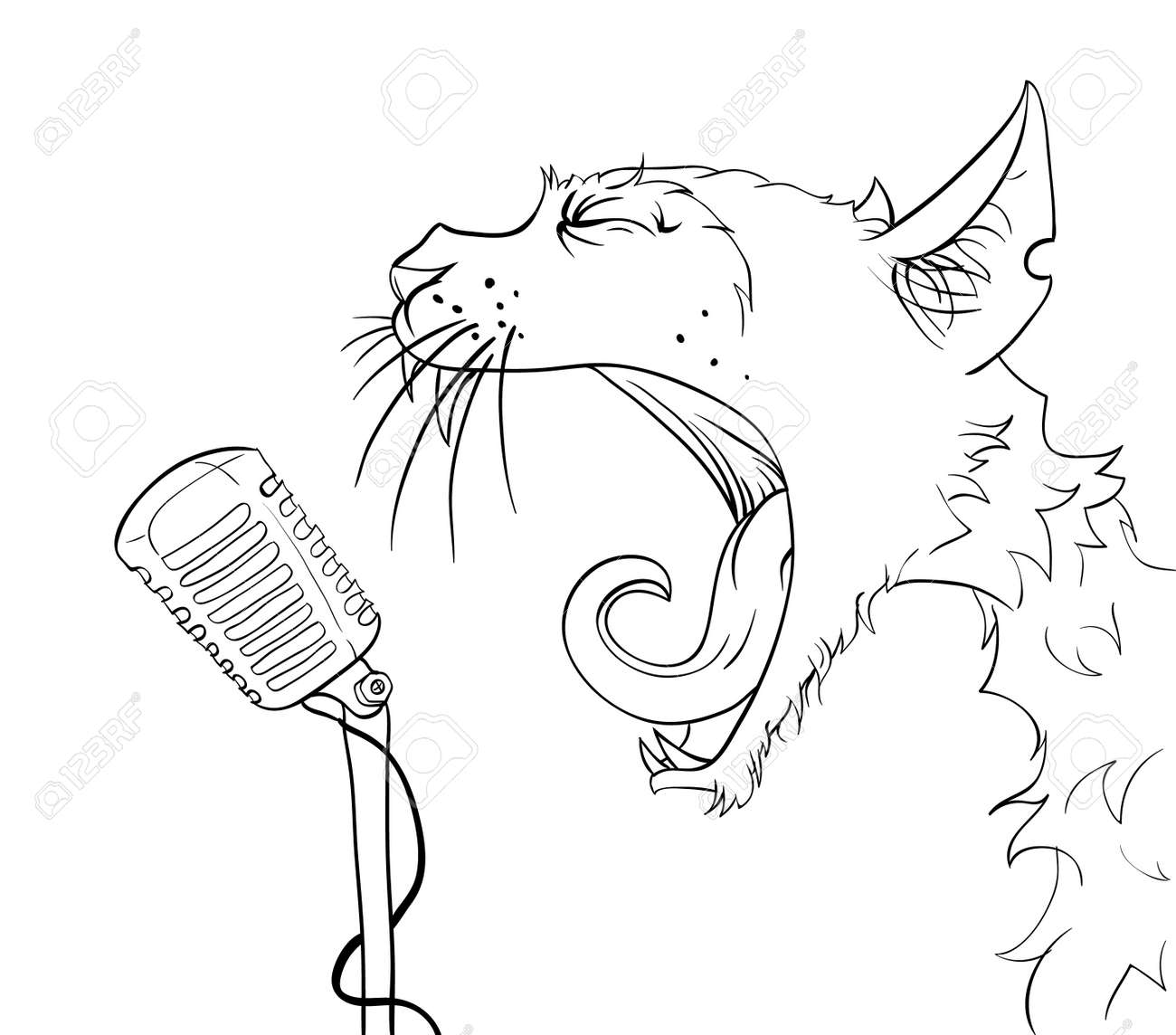 Cat yells into the microphone. Vector illustration. Stock Vector - 12201803