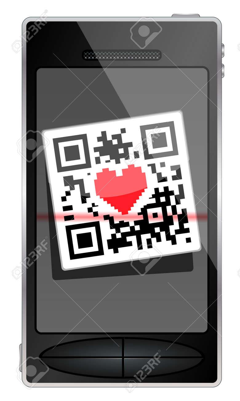 QR code flies in the smartphone. Phone with hearts. Stock Vector - 12344799