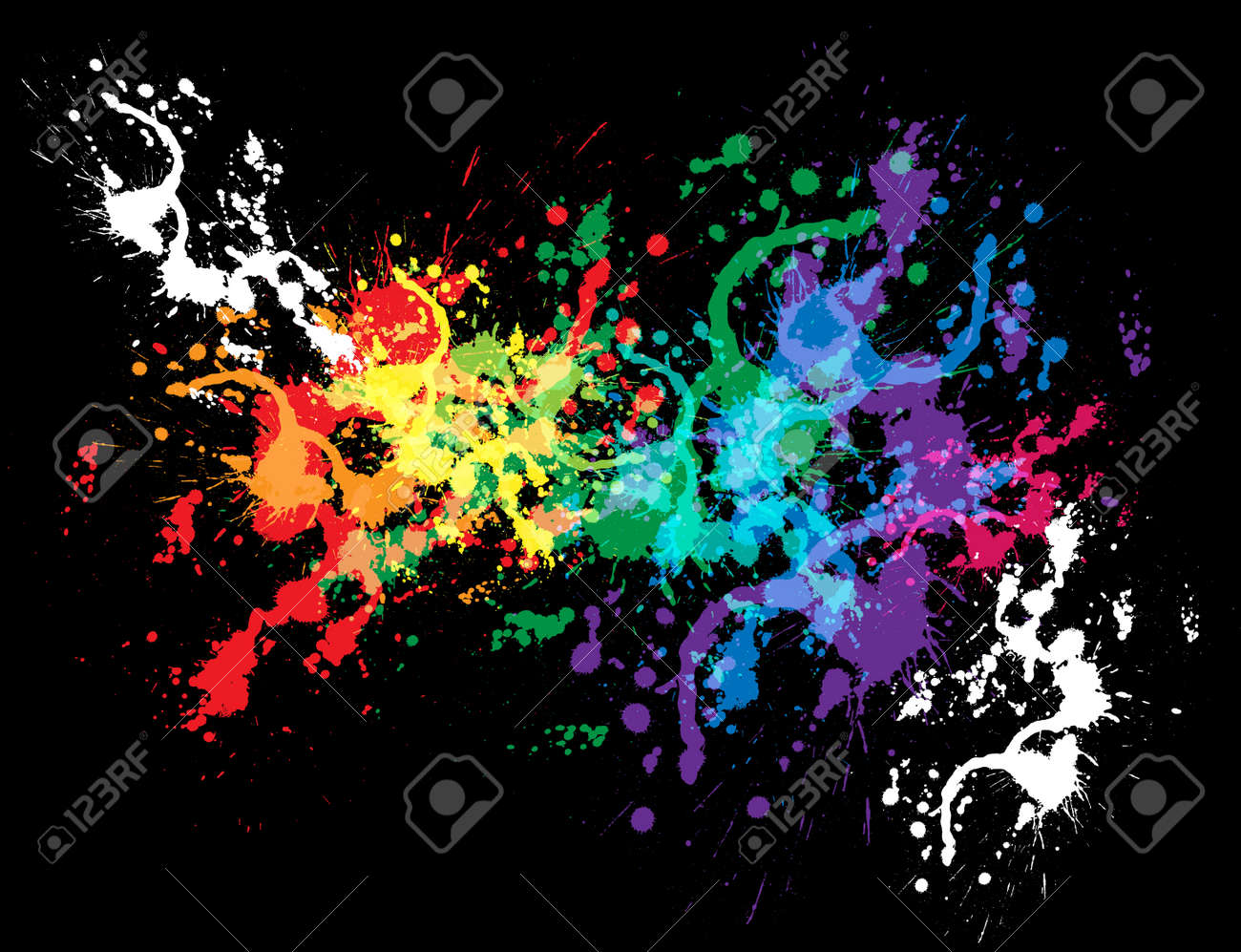 Colourful bright ink splat design with a black background Stock Vector - 13026070