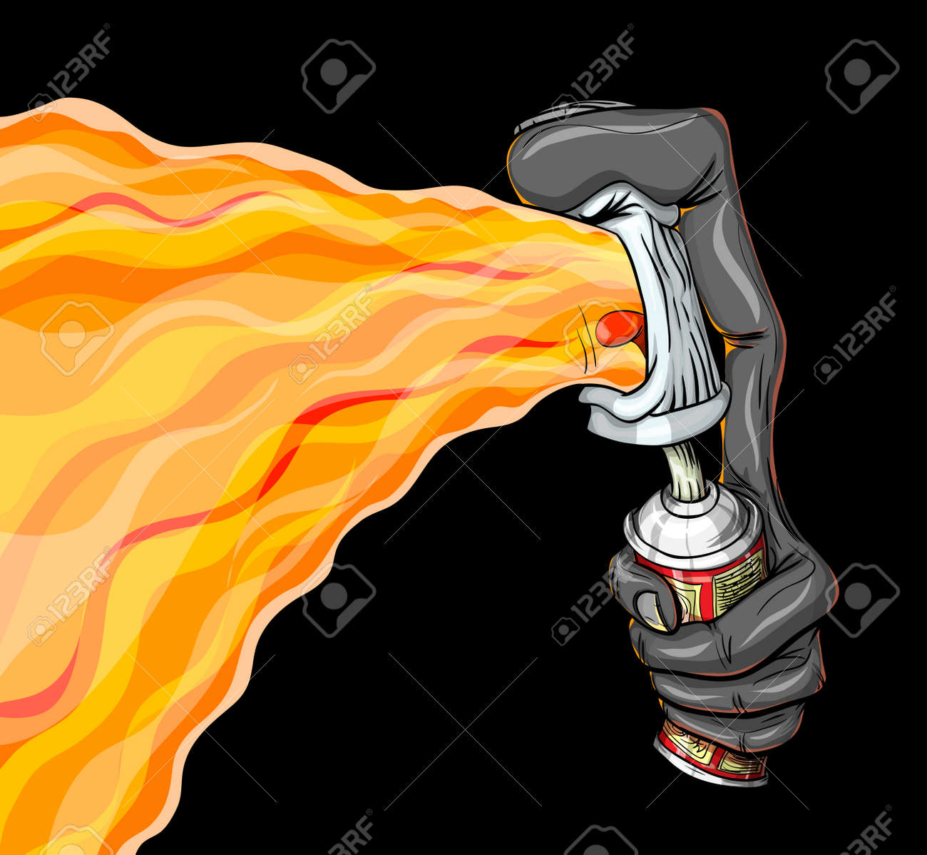 The container of paint spray fire graffiti. Stock Vector - 13503682