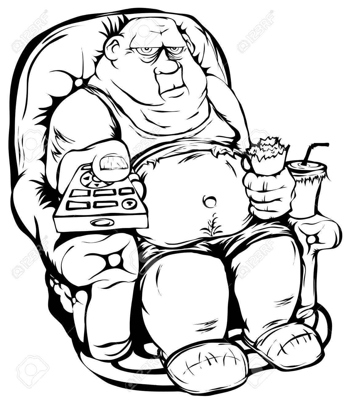 Man sitting in chair drawing - Big Chair The Fat Guy Is Sitting In A Chair With Remote Control In Hand