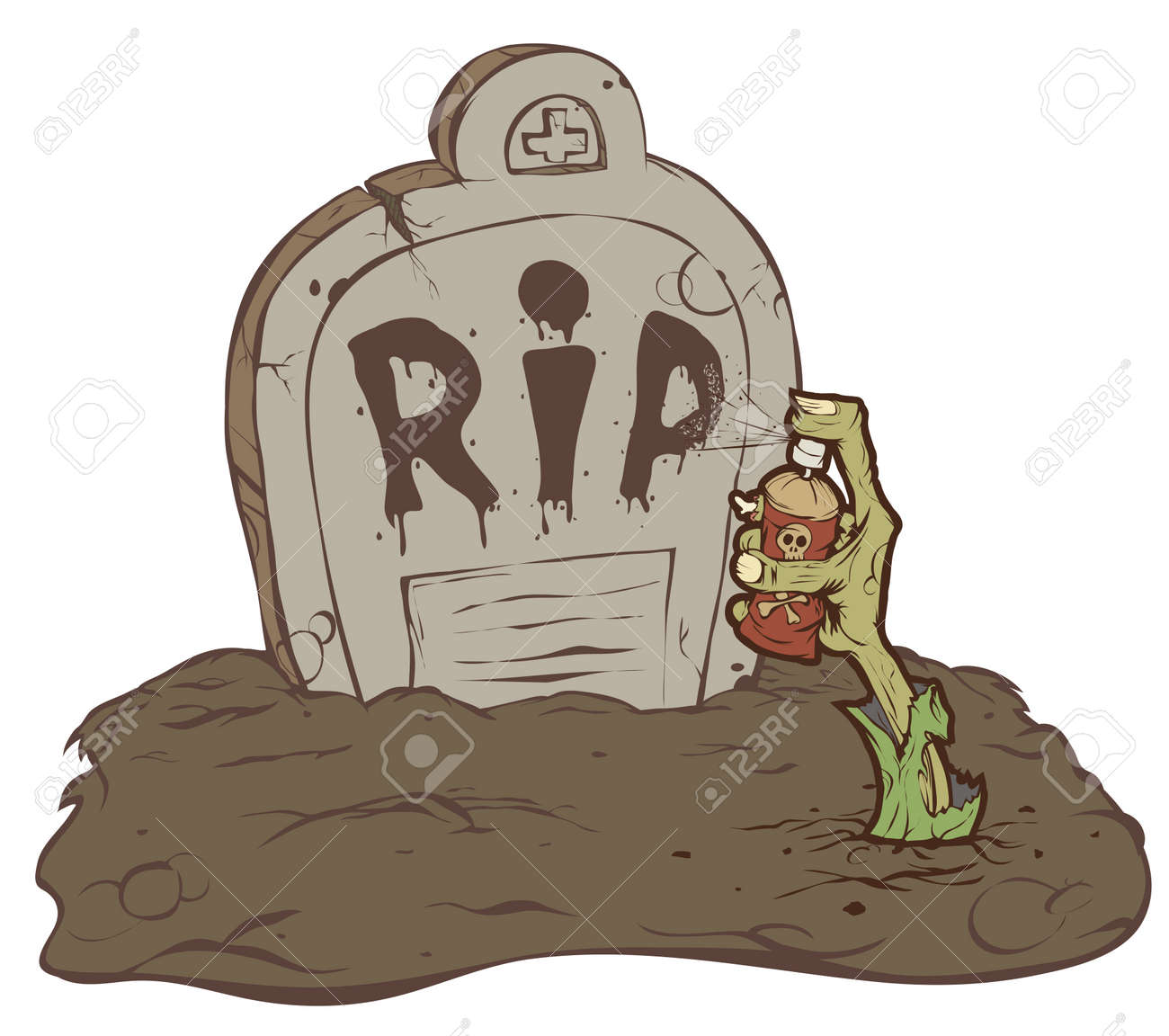 Hand zombie crawls out of the grave and wrote R.I.P. - 15326378