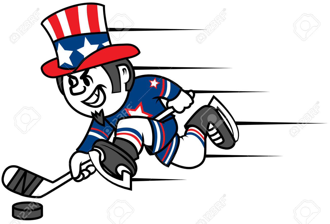 Hockey Player Dressed As Uncle Sam Can Be Used As Logo And Mascot