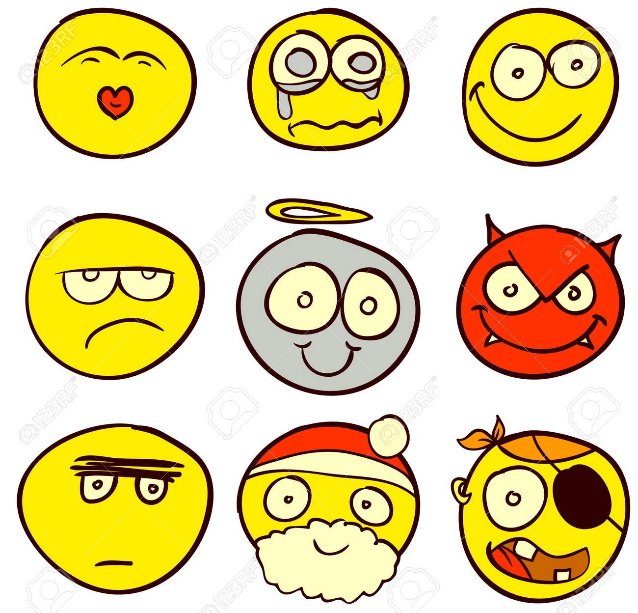 A set of 9 smileys for every taste. Done in comic doodle style. Stock Vector - 17934160