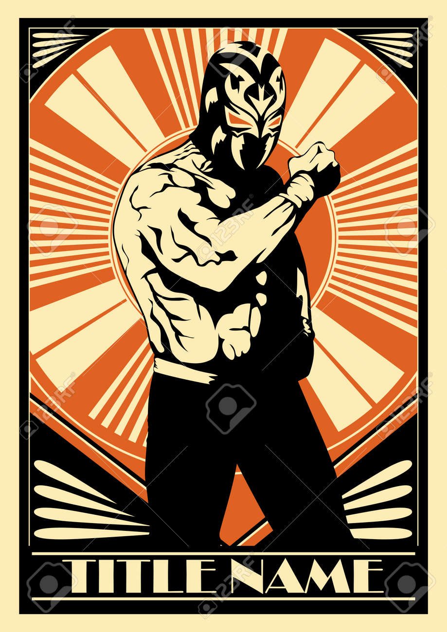Mexican wrestler poster showing strength. Foto de archivo - 28462546