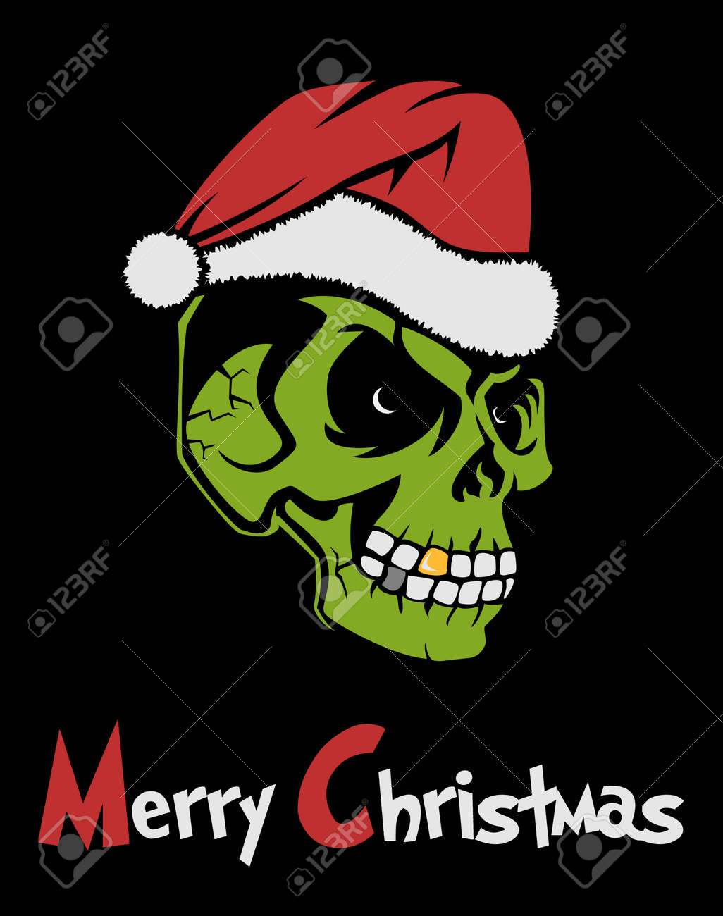 Zombie Santa Claus Wishing Merry Christmas. Christmas Grinch ...