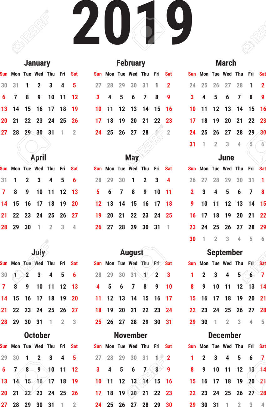 Calendar For The Year 2019 Calendar For The Year 2019 On White Background. Week Starts Sunday