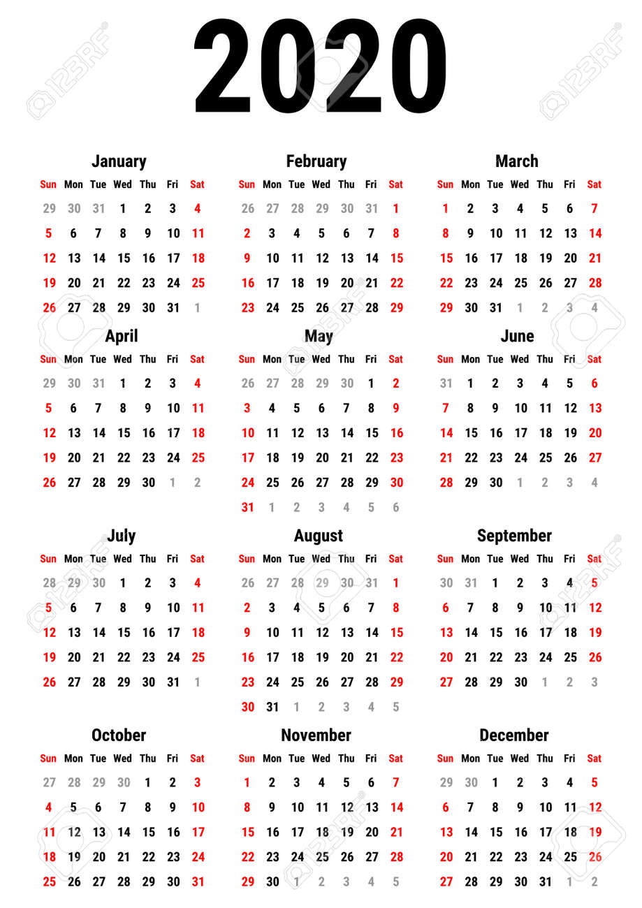 Calendar 2020 Year Calendar For 2020 Year On White Background. Week Starts Sunday