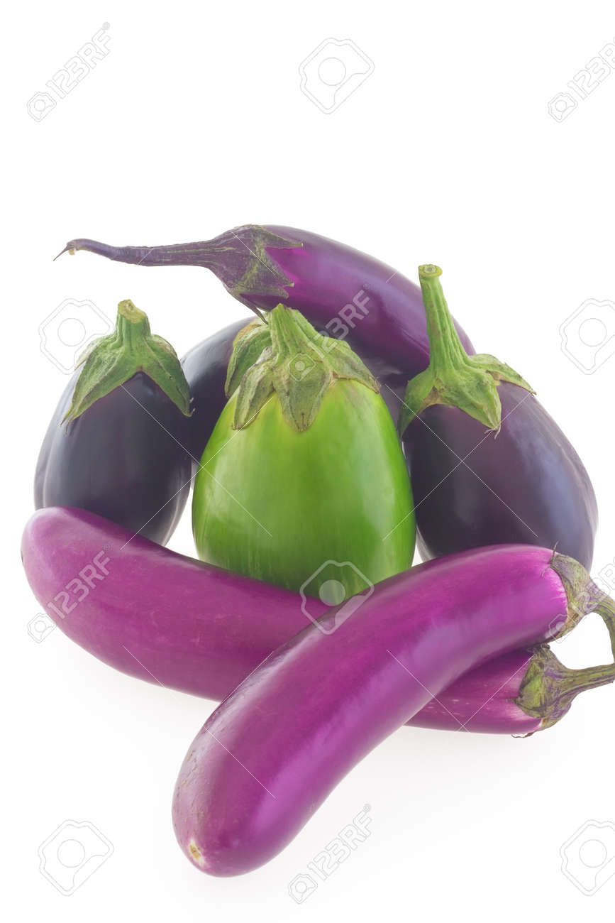 group of different shape and color eggplants aubergines isolated