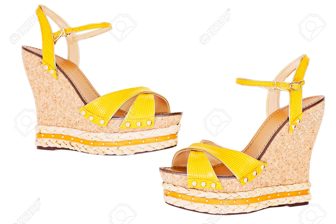 a5f3d803688 Ladies Yellow Wedge Platform Sandals
