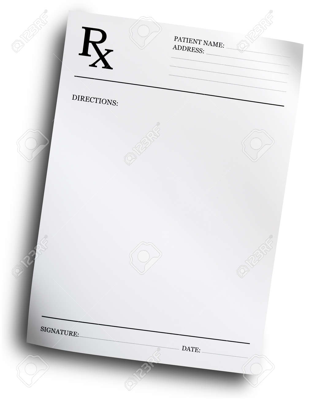 RX prescription form isolated on white background Stock Photo - 8873571