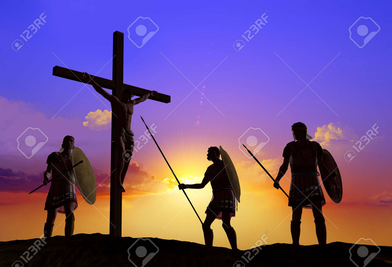 sileet warrior about the crucified jesus stock photo picture and